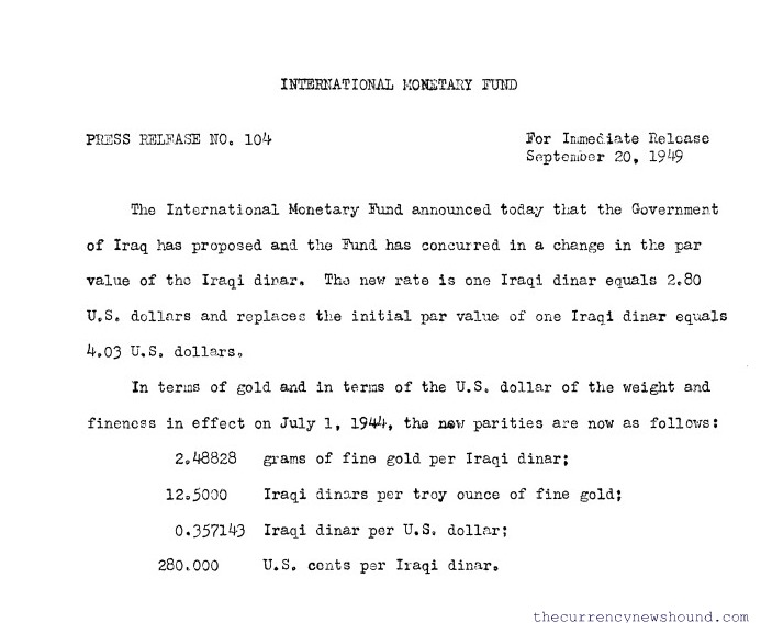IMF Historical Document: Sept 1949, Press Release 104